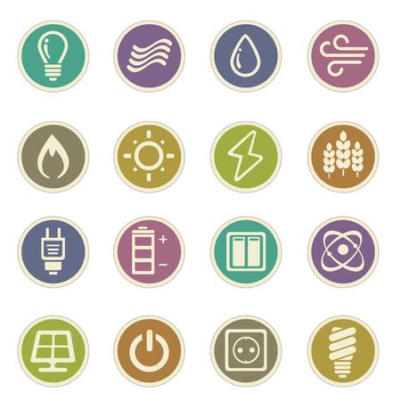Fuel and Power vector icons for web sites and user interfaces