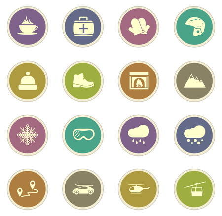 chalet: Skiing vector icons for web sites and user interfaces