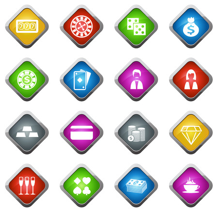 Casino vector icons for web sites and user interfaces Stock Illustratie