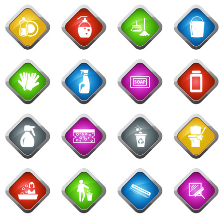 panicle: Cleaning company vector icons for web sites and user interfaces