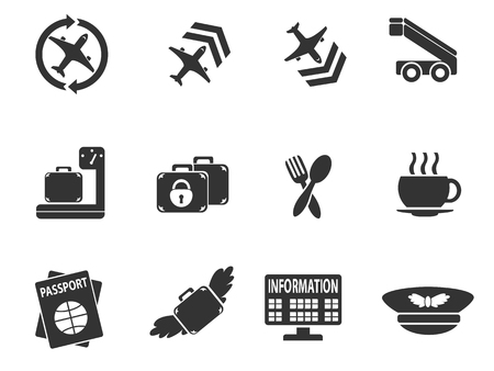wap: Airport simply icons for web and user interfaces Illustration