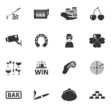 cigar smoking man: Casino simply icons for web and user interfaces