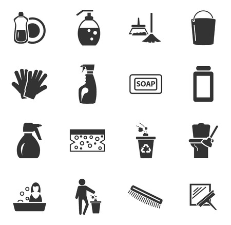 tinting: Cleaning company simply icons for web and user interfaces