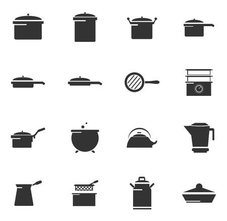 Geschirr Symbole einfach für Web und Benutzeroberflächen Vektorgrafik