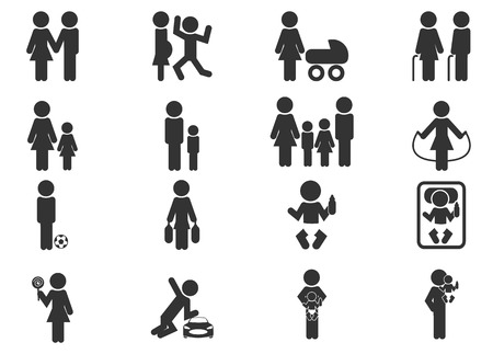 homosexual couple: Family simply icons for web and user interfaces