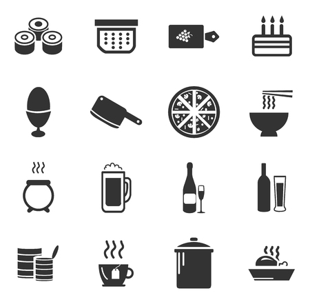 seemed: Food and kitchen simply icons for web and user interfaces Illustration
