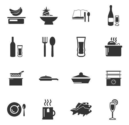 fryer: Food and kitchen simply icons for web and user interfaces Illustration