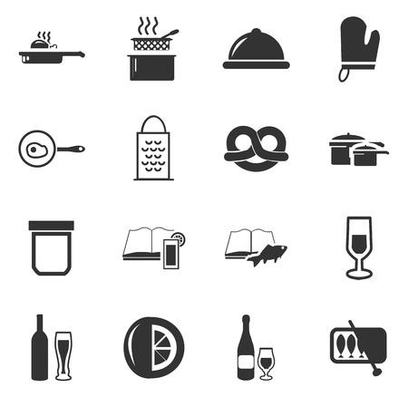 Nahrungsmittel- und Kücheikonen einfach für Web und Benutzeroberflächen Vektorgrafik