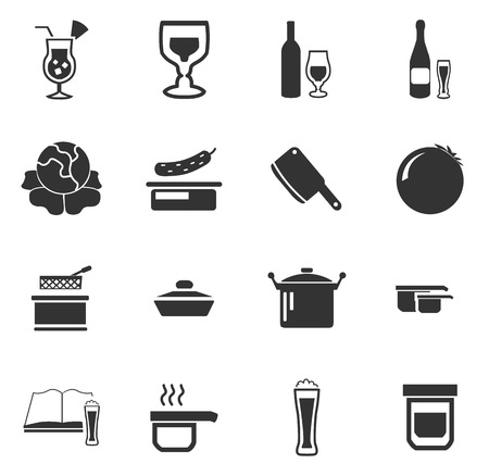 Food and kitchen simply icons for web and user interfaces Illustration