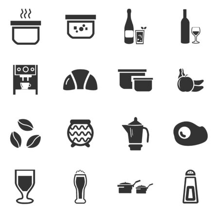 bread maker: Food and kitchen simply icons for web and user interfaces Illustration