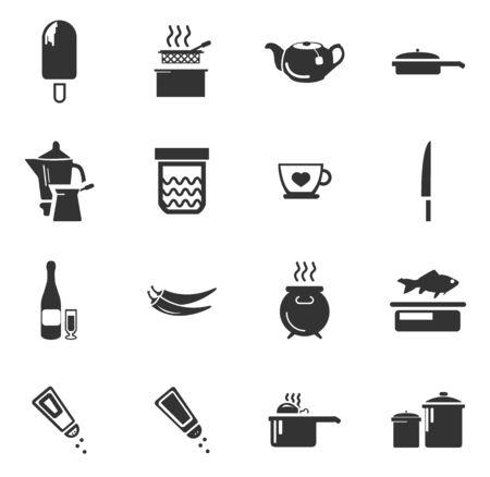 Nahrungsmittel- und Kücheikonen einfach für Web und Benutzeroberflächen