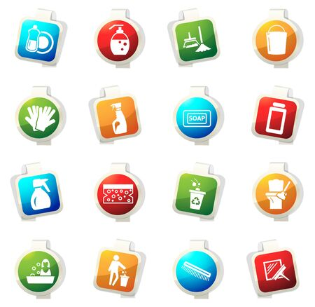 Cleaning company vector icons for web sites and user interfaces