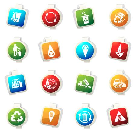 camion de basura: iconos de basura del vector para sitios web e interfaces de usuario