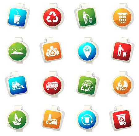 basura: iconos de basura del vector para sitios web e interfaces de usuario