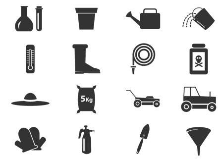 gardening hoses: Gardening tools simply icons for web and user interfaces Illustration