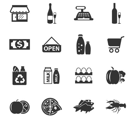 Grocery store simply icons for web and user interfaces Vettoriali