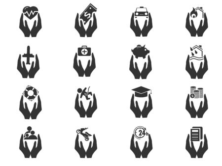 stop hand silhouette: Insurance simply icons for web and user interfaces