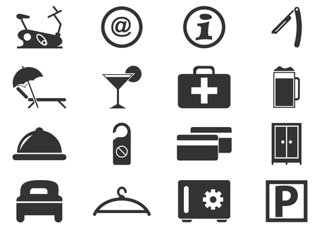 double bad: Hotel room simply icons for web and user interfaces
