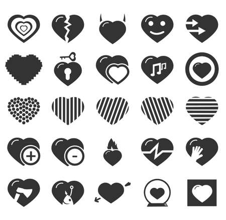romantic heart: Heart simply icons for web and user interfaces Illustration
