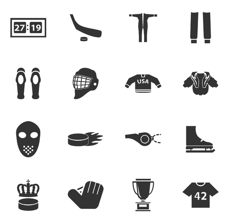 pelota rugby: Hockey simply icons for web and user interfaces