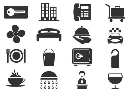 hotel room: Hotel room simply icons for web and user interfaces