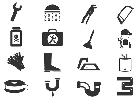 tube wrench: Plumbing simply icons for web and user interfaces Illustration