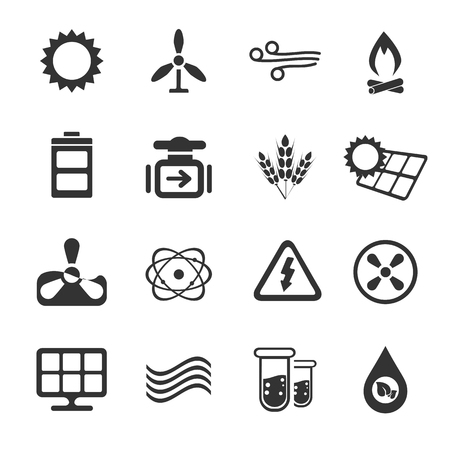 oxidation: Fuel and Power simply icons for web and user interfaces