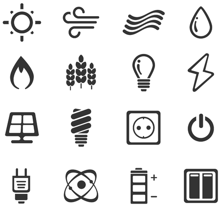 power saving lamp: Fuel and Power simply icons for web and user interfaces
