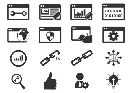 SEO and Development simply icons for web and user interfaces