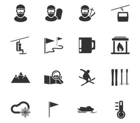Skiing simply icons for web and user interfaces Illustration