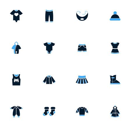 Baby-Kleidung Symbole einfach für Web und Benutzeroberflächen Vektorgrafik