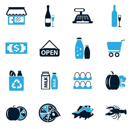 bolsa de pan: tienda de comestibles, simplemente iconos para web y las interfaces de usuario Vectores