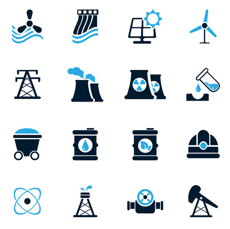 industry icons: Fuel and Power simply icons for web and user interfaces