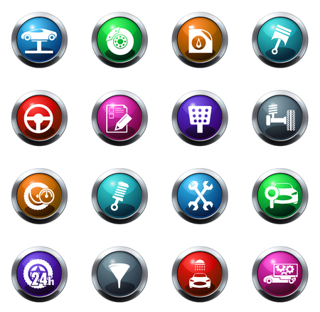 Auto service vector pictogrammen voor websites en user interfaces