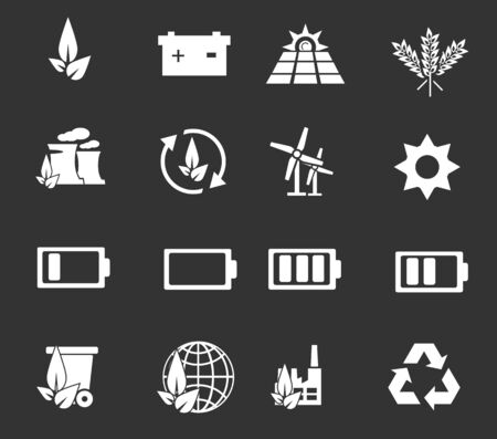 energías renovables: La energía alternativa simplemente iconos para web y las interfaces de usuario Vectores