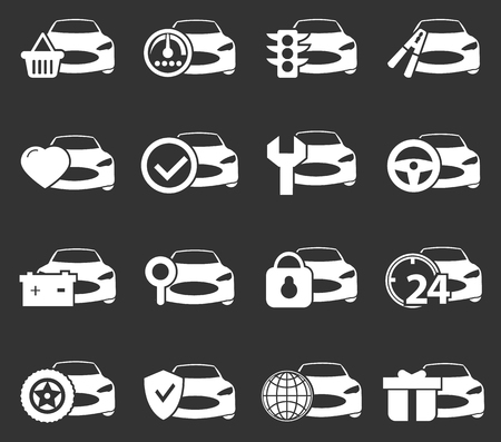 assist: Car service simply icons for web and user interfaces Illustration