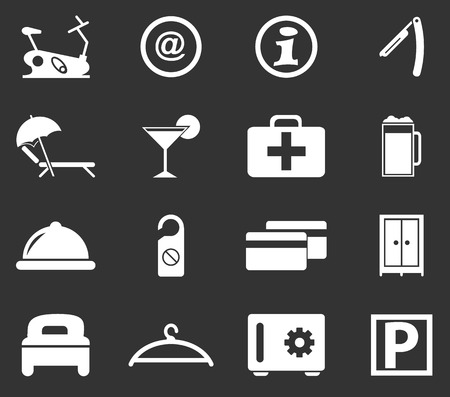 gym room: Hotel room simply icons for web and user interfaces