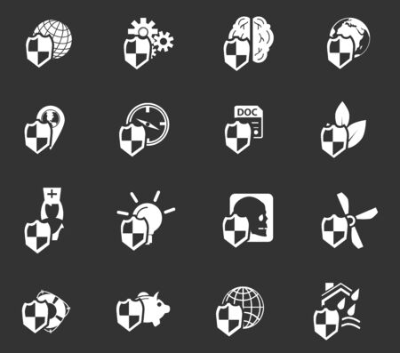 family policy: Insurance simply icons for web and user interfaces