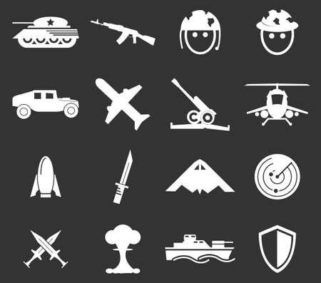 wojenne: Wojskowe i wojenne prostu ikony dla stron internetowych i interfejsów użytkownika Ilustracja