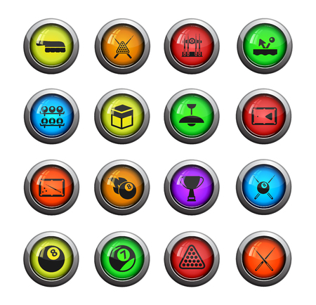 pool cues: Billiards icons set for web sites and user interface