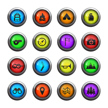 first aid kit: Boy scout icons set for web sites and user interface Illustration
