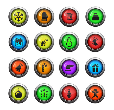web sites: Christmas icons set for web sites and user interface Illustration