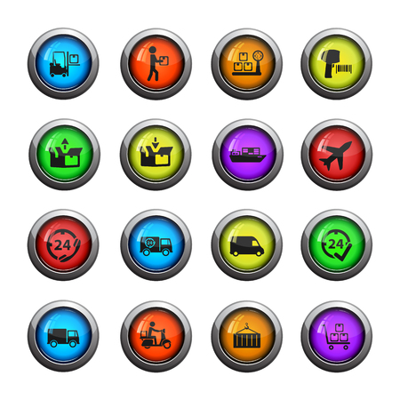 put tick: Delivery icons set for web sites and user interface