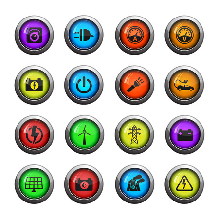 ammeter: Electricity icons set for web sites and user interface Illustration