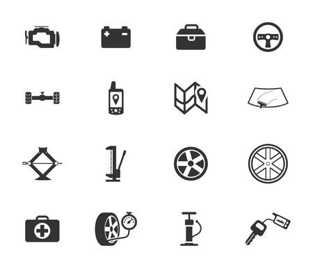botiquin de primeros auxilios: tienda de coches silueta negro simplemente iconos para web Vectores