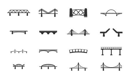 Bridges zwart silhouet pictogrammen gewoon voor het web Stock Illustratie