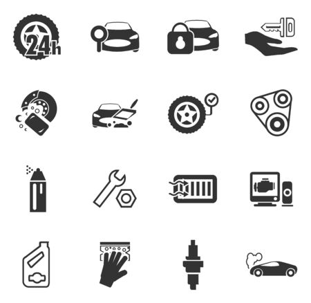 chamber of the engine: Car shop icon set for web sites and user interface