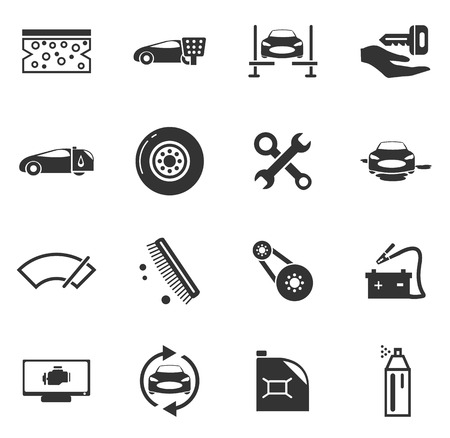 breaking wheel: Car shop icon set for web sites and user interface