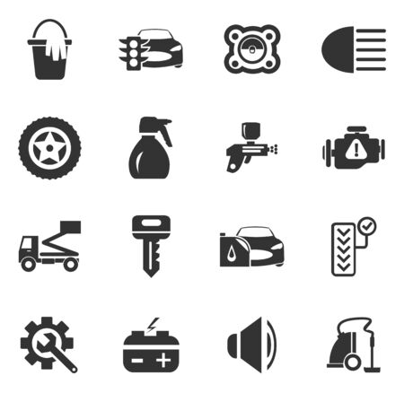 bucket of money: Car shop icon set for web sites and user interface
