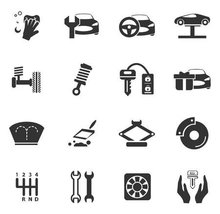 convergence: Car shop icon set for web sites and user interface